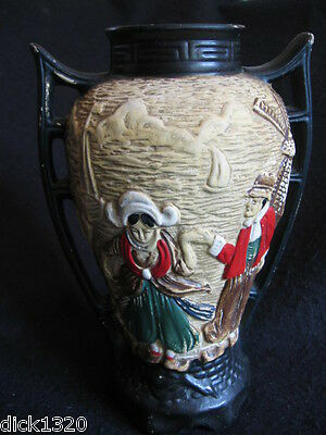 "ART DECO J.T.FELL & CO OLD CYPLES WARE 9"" VASE BAS-RELIEF DUTCH SCENES c.1929 EX"