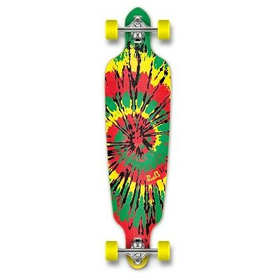 Yocaher Punked Drop Through Tiedye Rasta Longboard Complete