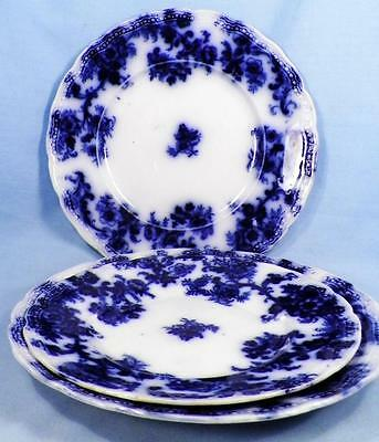 3 Lancaster Flow Blue Plates New Wharf Pottery Antique 2 Dinner 1 Luncheon As Is