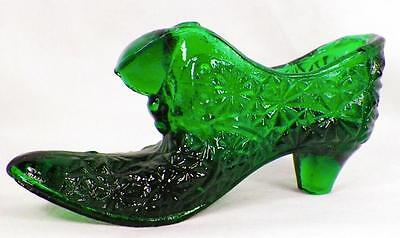 Fenton Art Glass Slipper Shoe Emerald Green Finecut Daisy Puss n Boots Figurine