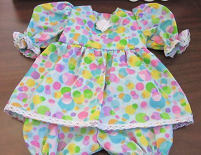 "Lt Blue Dotted Print Dress/Bloomers Fits 17"" Lee Middleton, 15"" AG Bitty Baby"