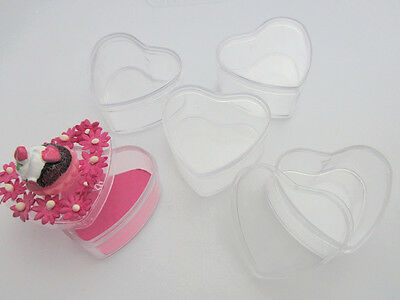 "6 Clear Plastic Heart Shape 1.5"" Small Gift Container/Storage Case/Favors B147"