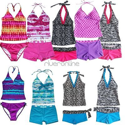 Girls 2 Piece Halter Tankini Bikini Set Swimwear Swimsuit Bathing Suit Size 8-16