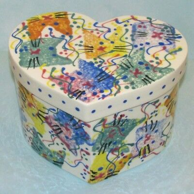 PARTY KITTY Cat Kitten Hand Painted Ceramic Heart Shape covered box signed Sari