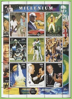 Chad 2000 Millenium Sheetlet, Events 1974-1999. MNH