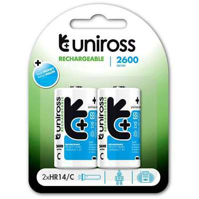 2x Uniross C Size HR14 LR14 MN1400 NiMh Rechargeable Batteries 2600mAh