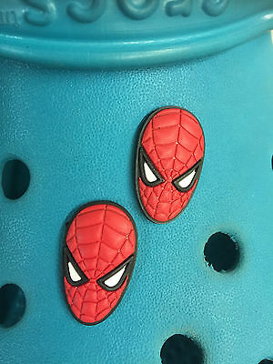 2 Spiderman Face Shoe Charms For Crocs & Jibbitz Wristbands. Free UK P&P.