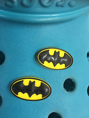 2 Yellow Batman Badge Shoe Charms For Crocs & Jibbitz Wristbands. Free UK P&P