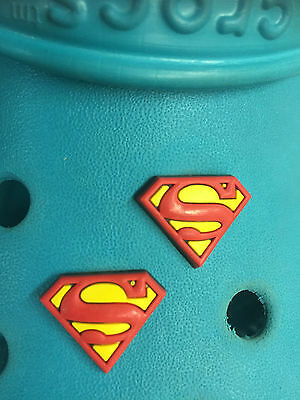 2 Superman Badge Shoe Charms For Crocs & Jibbitz Wristbands. Free UK P&P