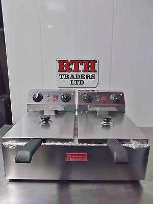 RTH - Double Basket Twin Tank Deep Fat Fryer 2 x 10L Electric Table Top - £275+V