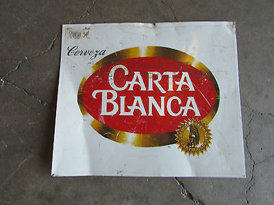 Old Carta Blanca Beer Sign #2-Mexican Restaurant Bar-Vintage-Metal-20x17-Nice