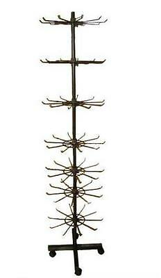 NEW BLACK TALL SEVEN LEVEL TIER SPINNING store FLOOR DISPLAY RACK W WHEELS wire