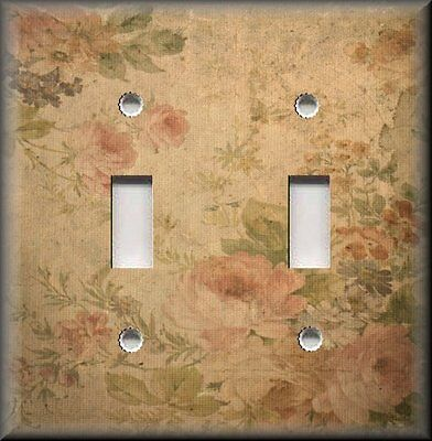 Floral  Decor Metal Light Switch Plate Cover - Vintage Rose - Shabby Chic Decor