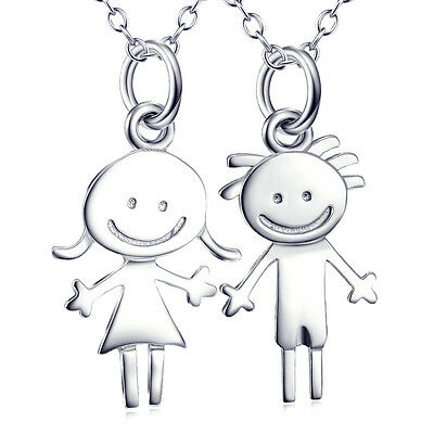 Cute Boy&Girl Charms Pendant 925 Sterling Silver Daughter&Son Necklace Love Gift