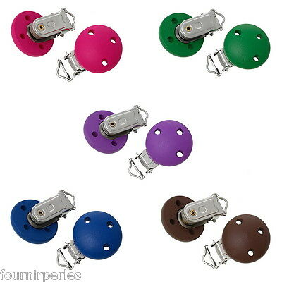 5 Mixte Bijoux Clips Pinces Crocodile Attache Tétine Bois Rond 4.4x2.9cm