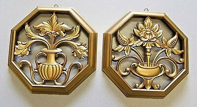 Beautiful Gold Vintage 1960's Syroco Shadow Wall Plaques Mid Century USA