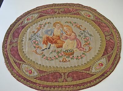 Antique 19Th Century Silk Petit Point On Velvet With Gold Metallic Trim Rr803