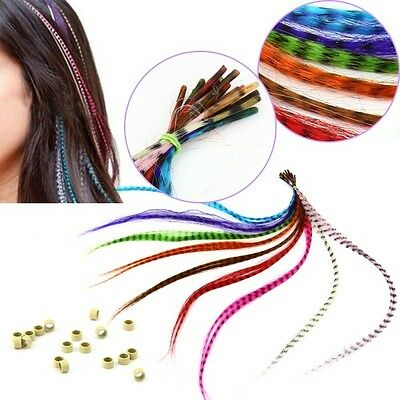 18PCS Mixed Color Hair Rings Extensions Rooster Grizzly Feathers Synthetic 16""