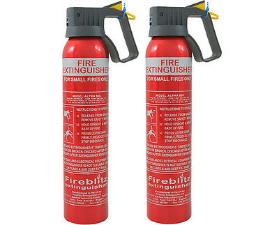 2 x 950G BC POWDER FIRE EXTINGUISHER CAR HOME CARAVAN VAN PORTABLE COMPACT HOME
