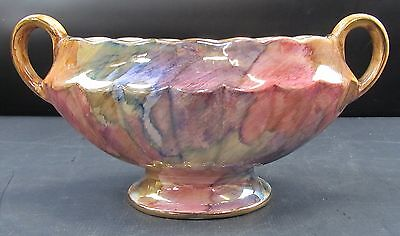 Oldcourt Ware Two Handled Pearlescent Oval Rose Bowl With Flower Grille