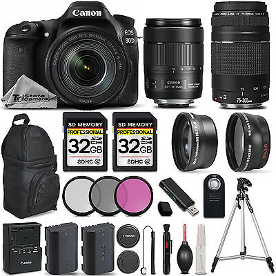 Canon EOS 80D DSLR Camera with Canon EF-S 18-135mm IS USM Lens +Canon 75-300 III