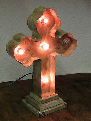 Lighted Cross-Metal & Wood-Mexican Folk Art-Handmade-White-NEW-Unique