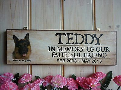 Dog Memorial Plaque Handmade Wooden In Memory Sign German Shepherd Memorial Sign
