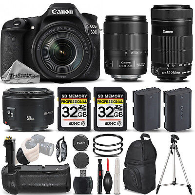 Canon EOS 80D DSLR Camera with 18-135mm USM Lens + 55-250 IS STM + 50mm 1.8 II