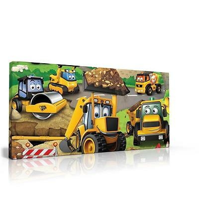 SINGLE CANVAS PICTURE WALL ART can be PERSONALISED MY 1ST JCB DIGGER FREE P&P