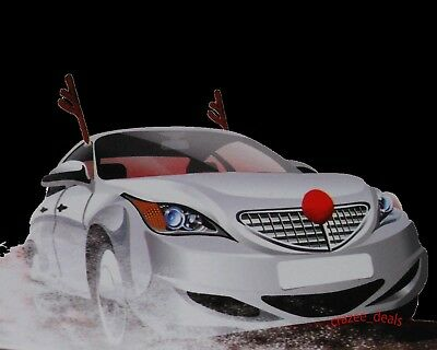 """Rudolph The Red Nose Reindeer Car Antlers & Nose Costume Fits Any Vehicle 18"""""""