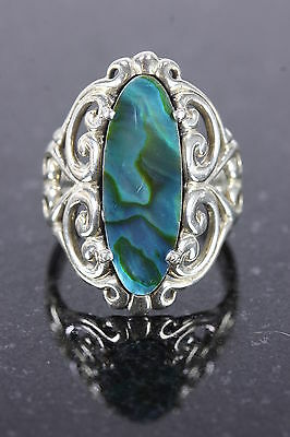 Sterling Silver Womens Ring 5.8 Gr Iridescent Flat Black Stone Size 7 3/4 Adama