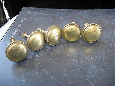 "5 Vintage 1-1/4"" Polished Metal Brass ? Drawer Pulls"