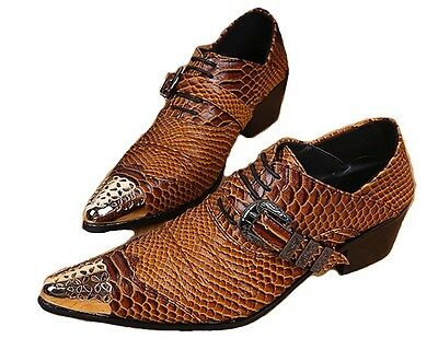 US Size 5-12 Pointed Toe Leather Formal Dress Mens Oxford Shoes & Free Cufflinks