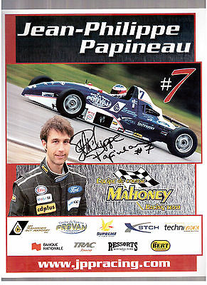 Racing Car Driver Jean-Philippe Papineau Autographed Mahoney-Racing Photocard