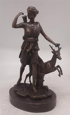 Bronze Figure of Diana the Huntress - Stood with a Leaping Stag by her side