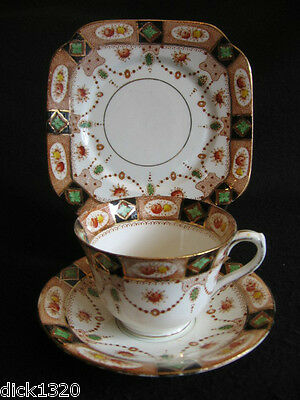 "ART DECO ROYAL ALBION CHINA ""SANDON"" #1252  CUP/SAUCER/PLATE TRIO  c.1930's"