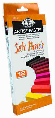 12 Boxed Premium Pigment Earthtone Colour Soft Sketching Artist Pastels Cpa-E12