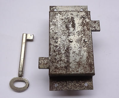 Vintage Lock Box Double Side Deadbolt Latch + Barrel Key 1 3/4 x 4'' Free S/H