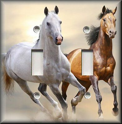 Metal Light Switch Plate Cover - White Brown Horses Horse Decor Western Decor