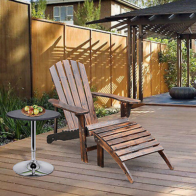 Outsunny Adirondack Wood Chair Lounger Beach Patio Deck Pool w/ Ottoman Footrest