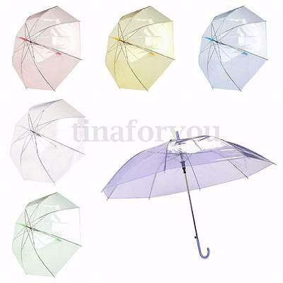 Large Clear Colorful Dome See Through Umbrella Handle Transparent Walking Rain
