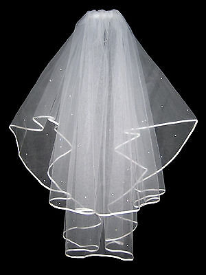 "2 Tier Ivory Bridal Wedding Veil With Diamantes Crystals & Comb 36"" High Quality"