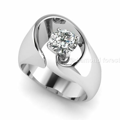 1.00 ct contemporary engagement ring white moissanite wt simulated diamond