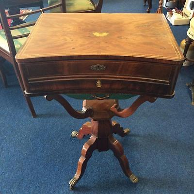 Antique Victorian Ladies Sewing Box Work Box Table Mahogany Inlay on Top