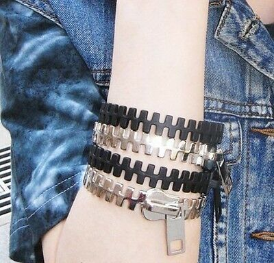 fashion Gothic Punk Rock Zipper Zip Shape Bangle Bracelet  B004