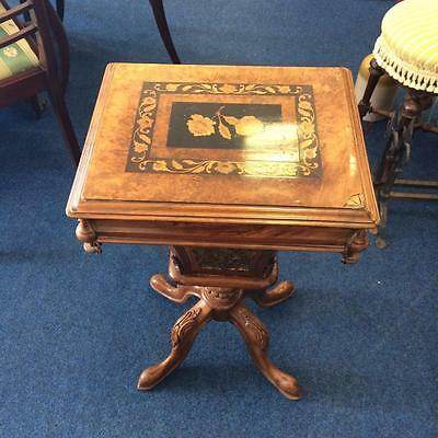 Antique Victorian Ladies Sewing Box Work Box Table Walnut Inlay on Top