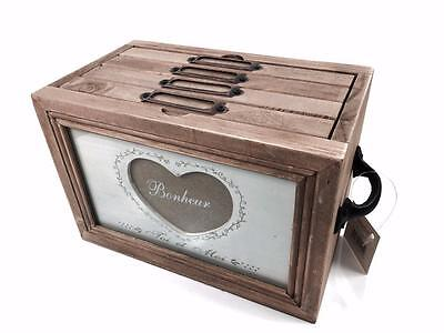 Vintage Style Wooden Heart Photo Filing Box HLD056-HS