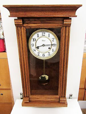 "Stoneybrook Solid Oak  Wall Clock ""oakville"" With A Double Bell Hermle Movement"