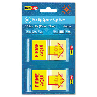 Spanish Page Flags in Pop-Up Dispenser, FIRME AQUI, Red/Yellow, 100/PK