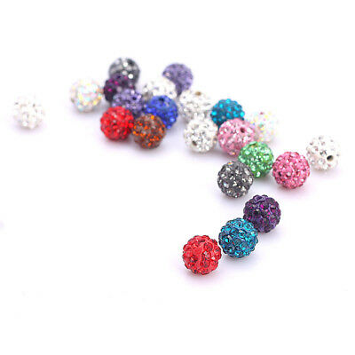 20 Pcs Czech Crystal Rhinestones Pave Clay Round Disco Ball Spacer Bead 8mm 10mm